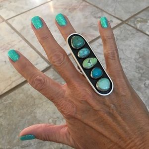 Sterling Turquoise Huge 5 Stone Ring